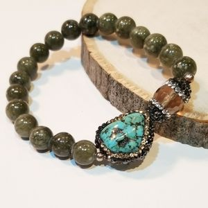 Moss Agate with pave CZ Turquoise Bracelet